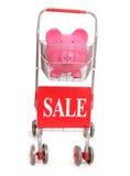 Carretilla de las compras con la muestra de la hucha y de la venta Imágenes de archivo libres de regalías