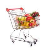 Carretilla de las compras con las frutas Fotografía de archivo libre de regalías
