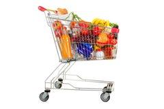 Carretilla de las compras de la comida en el fondo blanco Imagenes de archivo