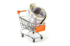 Carretilla de las compras del dinero Fotografía de archivo