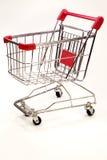 Carretilla de las compras en el fondo blanco 10 Foto de archivo libre de regalías