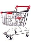 Carretilla de las compras en el fondo blanco 2 Fotos de archivo