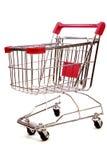 Carretilla de las compras en el fondo blanco 3 Foto de archivo