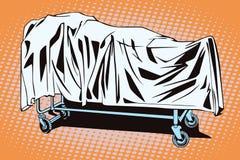Carretilla del hospital con el cuerpo ilustración del vector