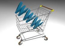 Carretilla del mercado con WWW Fotos de archivo libres de regalías