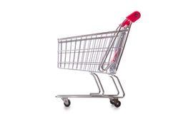 Carretilla del supermercado de las compras aislada en el blanco Imagen de archivo libre de regalías