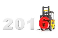 Carretilla elevadora con la muestra del Año Nuevo 2016 Foto de archivo libre de regalías
