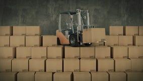 Carretilla elevadora en cajas de cartón del cargamento del almacén o del almacenamiento 3d Imagenes de archivo