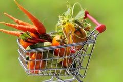 Carretilla llena de las compras con las verduras Foto de archivo libre de regalías