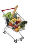 Carretilla llenada de la compra de comida aislada en el fondo blanco, ninguna BO Imagen de archivo libre de regalías
