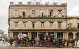 Carretti del carrozzino e del cavallo in Havana Cuba anziana Fotografie Stock Libere da Diritti