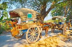 Carretti del cavallo lungo la strada, Ava, Myanmar fotografie stock