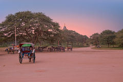 Carretti del cavallo su una strada polverosa nell'area di tempio in Bagan Myanmar Fotografia Stock
