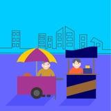 Carretti dell'alimento con il venditore, affare del supporto dell'alimento Fotografie Stock Libere da Diritti