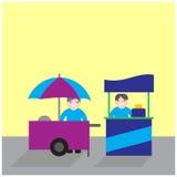 Carretti dell'alimento con il venditore, concorrenza di affari del supporto dell'alimento Immagini Stock Libere da Diritti