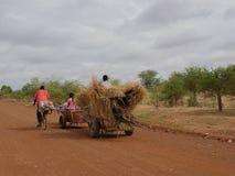 Carretto africano dell'azionamento degli agricoltori tirato immagine stock