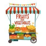 Carretto della via con i frutti illustrazione di stock