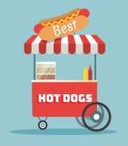 Carretto della via dei hot dog di vettore Immagini Stock Libere da Diritti