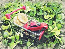 Carretto di compera del carrello con la moneta cripto Digital Art Impasto Oil immagine stock