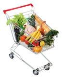 Carretto in pieno di alimento, immagine isolata su fondo bianco Fotografia Stock Libera da Diritti