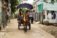 Carretto rurale del cavallo con il turista nel villaggio del Vietnam Fotografia Stock Libera da Diritti