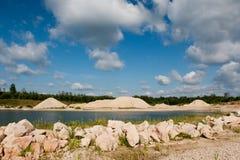 Carrière avec des roches de dolomite Photo libre de droits