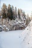 Carrière de marbre de Ruskeala, Carélie, Russie Images libres de droits