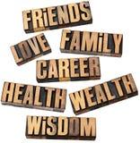 Carrière, familie, gezondheid en andere waarden Stock Foto