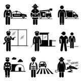 Carrière publique de professions des travaux de protection et sécurité illustration de vecteur