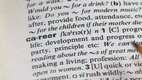 Carrièrewoord in woordenboek, zelfontplooiing en professionele bevordering, de groei stock footage