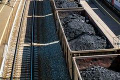 Carriadge do frete com carvão nas trilhas Foto de Stock Royalty Free