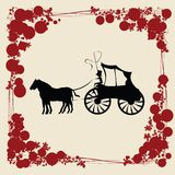 Carriage. Illustration with stylized floral frame Stock Image