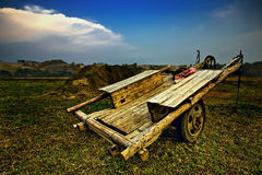 Carriage. Old wooden carriage in some counrtyside Stock Photo