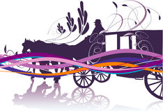 Carriage. Purple stylized carriage illustration with horses stock illustration