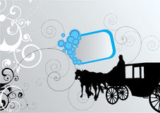 Carriage. Black carriage on decorated background stock illustration