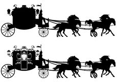 Carriage. Antique carriage with four running horses - easy editable silhouette Stock Images