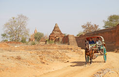 Carriage in Bagan archaeological site, Myanmar royalty free stock photos