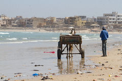 Carriage on the beach. Yoff, Dakar,Senegal Royalty Free Stock Images