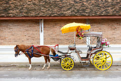 Carriage with black horse Royalty Free Stock Photos