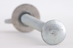 Carriage Bolt. Zinc plated Carriage bolt on white Stock Images