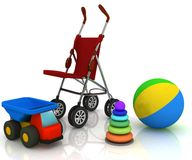 Carriage and children's toys Stock Photos