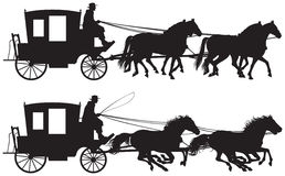 Carriage drawn by four horse's silhouettes Royalty Free Stock Image