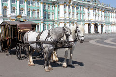 Carriage drawn by two horses Royalty Free Stock Image
