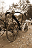Carriage From Fairy Tale. Fairy tale forged coach with big metal wheels, beautiful decor and mirror glass windows Stock Photo