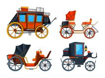 Carriage flat style. Illustrations set of various chariot. Vector collection of cart antique, transport carriage, caleche and stagecoach stock illustration