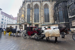 Carriage in front of Cathedral Saint Stefan in Vienna. Traditional horse coach in front of Cathedral Saint Stefan, Vienna, Austria Stock Photo