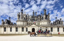 Carriage in Front of Chambord Castle stock images