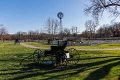 Carriage on green grass stock photo