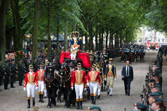 Carriage. THE HAGUE, HOLLAND - SEPT 17: The carriage with Prince Constatijn van Oranje on Prinsjesdag (opening of parliamentary year by Queen) on September 17 Royalty Free Stock Images