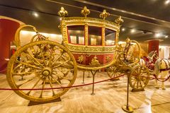 Carriage in the Hall of the historic transportation vehicles of the Pope, Vatican Museum. I. Vatican, Vatican city - June 12, 2017: Carriage in the Hall of the Stock Image